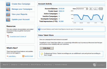 Image of the TargetSpot Dashboard circa 2009